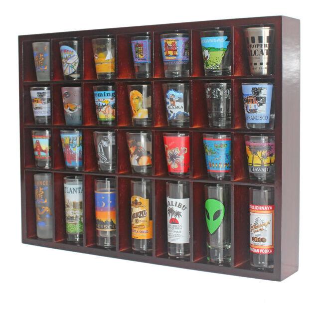 28 shot glass display case rack wall shelves shadow box holder cabinet sc11 ma