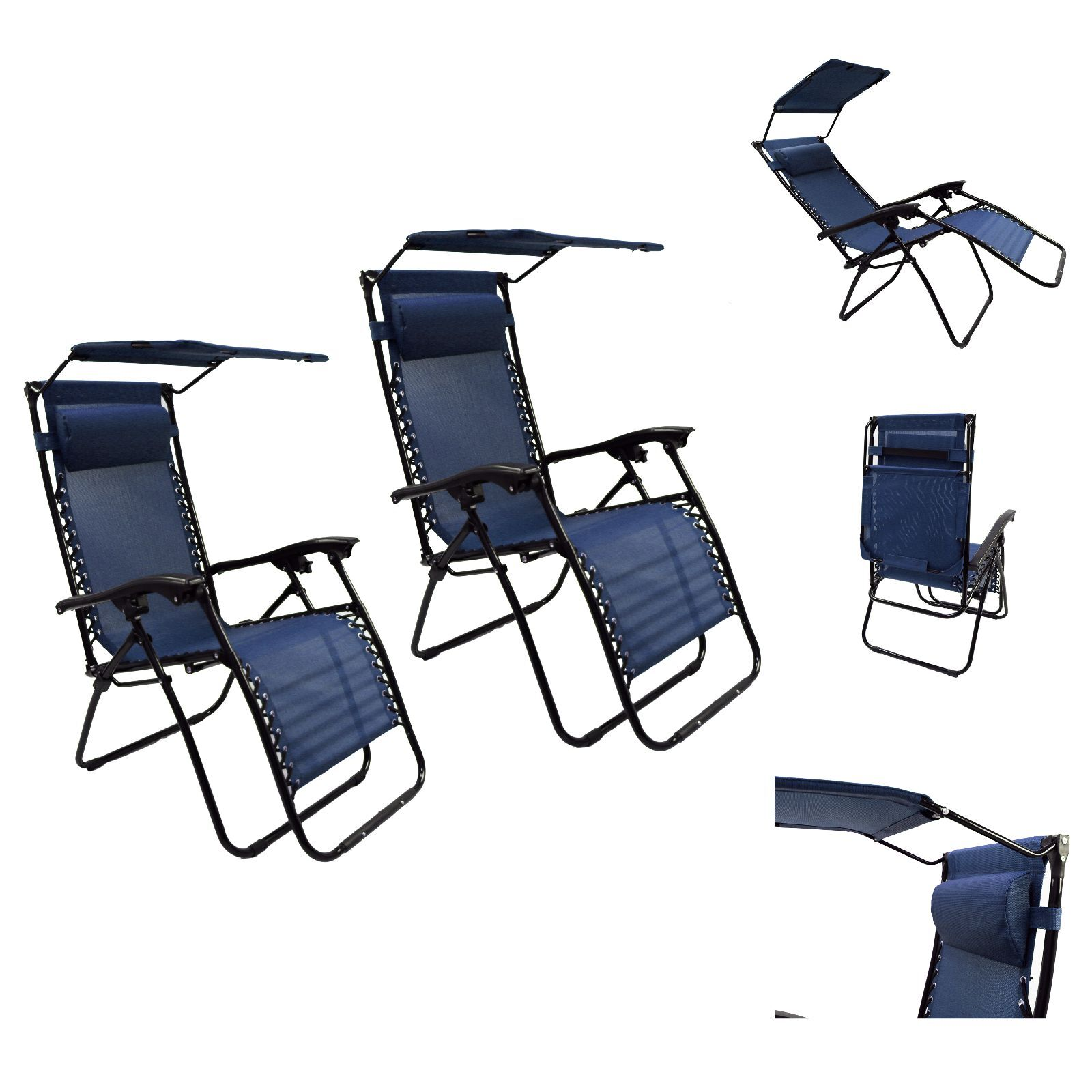 Fold Up Beach Chairs Patio Lounge Chair With Sunshade And Pillow Pool Beach