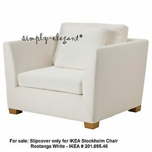 white armchair cover black restaurant chairs ikea for stockholm 1 5 seat chair rostanga details about slipcover