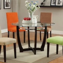 Colorful Kitchen Chairs Open Metal Shelving Modern Glass Top Round Table Dining Set Parson Chair 4 Image Is Loading
