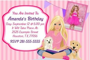 details about barbie birthday party invitations custom photo invites