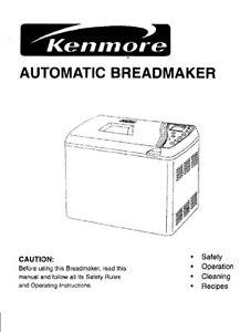 Kenmore Bread Machine Manual 102180 104501 KTR2205