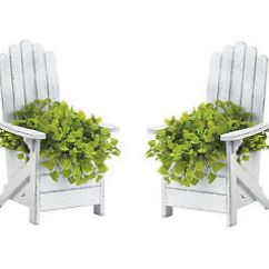 Distressed Adirondack Chairs Victorian Accent Chair 2 White Shabby Planter Plant Stand Image Is Loading