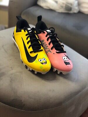 Spongebob Cleats : spongebob, cleats, Custom, Spongebob, Football, Cleats, (Youth)