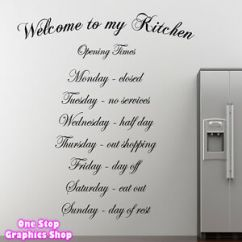 Kitchen Wall Art Bridal Shower Invitations Theme Welcome To My Quote Sticker Dining Room Image Is Loading
