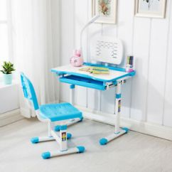 Study Table And Chair For Kids Old School Lawn Chairs Adjustable Blue Children S Desk Set Child Image Is Loading 039