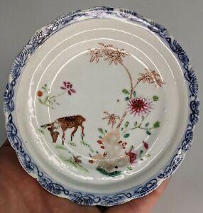 Chinese Antique c18th Porcelain Saucer Dish Famille Rose Deer Yongzheng Qianlong