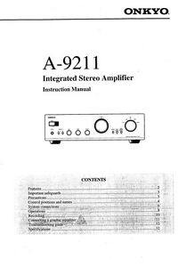Onkyo A-9211 Amplifier Owners Manual