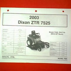 Dixon Lawn Mower Parts Diagram 12 Volt Generator Wiring Zero Turn Ztr Model 7525 With 60 Deck Manual 2003 Image Is Loading