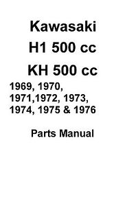 Kawasaki parts manual book 1972, 1973 & 1974 Kawasaki H1