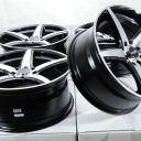 17×7.5 4×100 4×114.3 Black Rims Fits Toyota Corolla Prius C Yaris 4 Lug Wheels