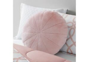 details about mainstays 23 lg round soft squishy fluffy faux fur pillow blush pink