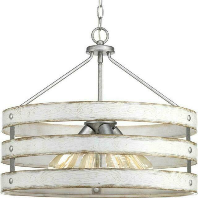 progress lighting gulliver 4 light galvanized drum pendant