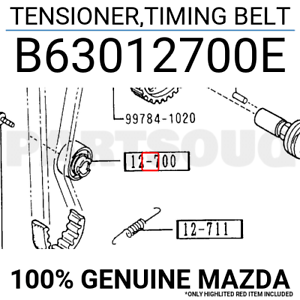 B63012700E Genuine Mazda TENSIONER,TIMING BELT B630-12