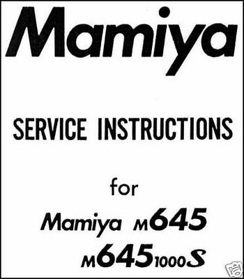 MAMIYA M645 1000S M 645 M645-1000S Camera Service Manual