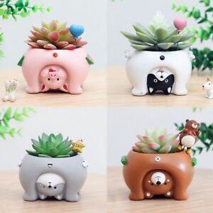 Upside Down Animal Resin Planters Cute Mini Flower Pots For Bonsai Home Garden Ebay
