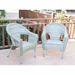 details about jeco clark resin wicker patio chair in gray set of 2