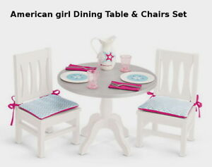 18 doll table and chairs wicker swing chair new american girl dining for pitcher plates image is loading amp