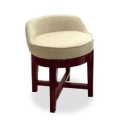 Chair Stool Small Burlap Sash Swivel Vanity Low Profile Padded Seat Upholstered Wood Image Is Loading