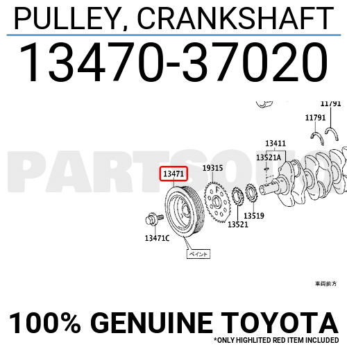 1347037020 Genuine Toyota PULLEY, CRANKSHAFT 13470-37020