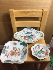 Three Antique Chinese Famille Rose Plate