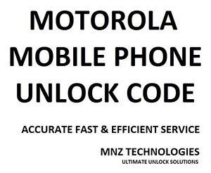 Motorola Unlock Code Moto G XT1032 / XT389 / XT610 / XT626