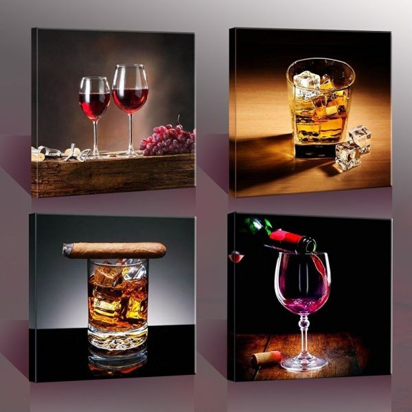 Wine & Whisky Canvas Prints Wall Art Printing Framed Home Decor Kitchen