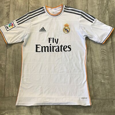 Real Madrid FC Fly Emirates Soccer White Adidas Jersey ...