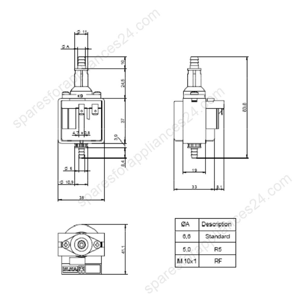 ULKA NMEHP1S MICRO PUMP 230/240V, 27W, 50Hz STEAM CLEANER