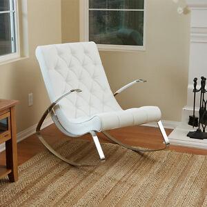 BarcelonaCity Luxury Modern Design White Leather Rocking