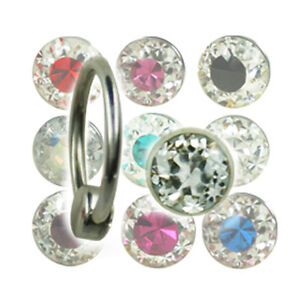 1,6mm Piercing Ring Flatback Epoxy Multistrass Kristalle Kugel Lippenbändchen