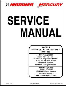MERCURY MARINER 135 150 150XR6 HP Service Repair Manual