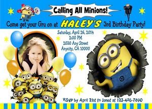 details about despicable me minions custom birthday party invitation free ty card u print