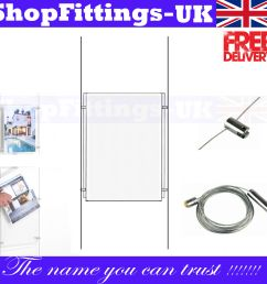 details about new a2 wire cable system acrylic poster holder shop window sign display stand [ 1600 x 1600 Pixel ]