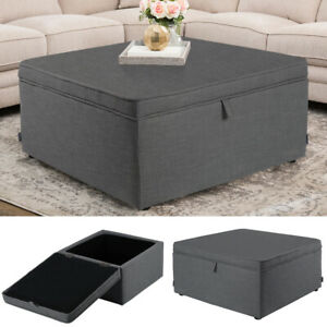 details about large storage coffee table ottoman linen fabric square organizer stool chest box