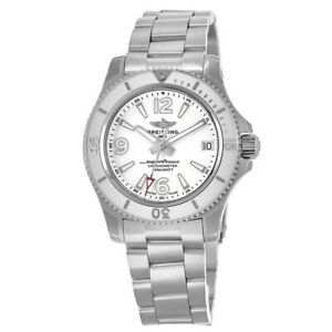 New Breitling Superocean 36 Automatic White Dial Women's Watch A17316D21A1A1