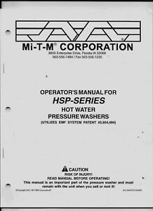 MI-T-M CORPORATION OPERATOR'S MANUAL FOR HSP-SERIES HOT