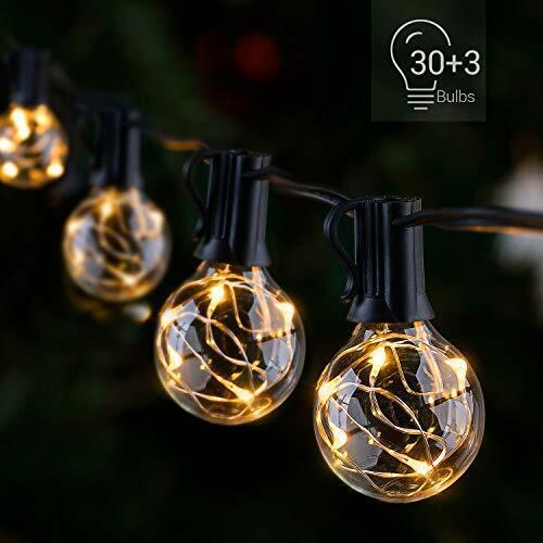led outdoor string lights 38 5ft 30bulbs g40 globe waterproof pat warm white