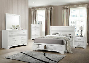 details about new modern white and silver bedroom furniture 5pcs king storage bed set ia7u