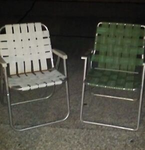 webbed folding lawn chairs little tikes chair vintage aluminum 2 ebay image is loading