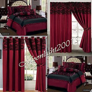 7 Piece Burgundy Flock Comforter Set Quilted Bedspread