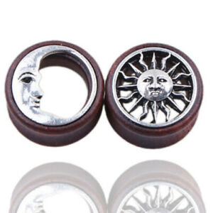 8-20mm Flesh Tunnel Plug Holz double flared Punk Sonnen Mond Tube Ohr Piercing
