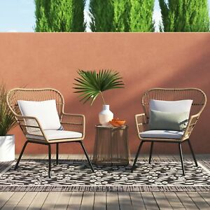 details about 3 piece modern patio furniture table and chairs bistro set outdoor wicker lawn