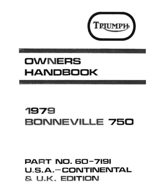 Triumph Owners Manual Book 1979 Bonneville 750 for sale