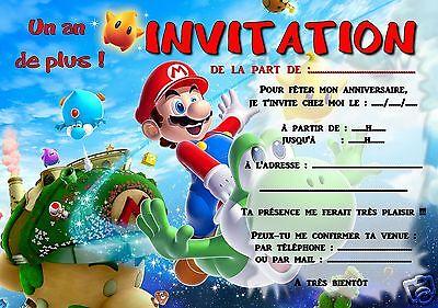 5 ou 12 cartes invitation anniversaire mario ref 294 ebay