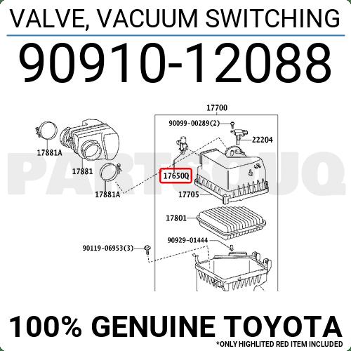9091012088 Genuine Toyota VALVE, VACUUM SWITCHING 90910