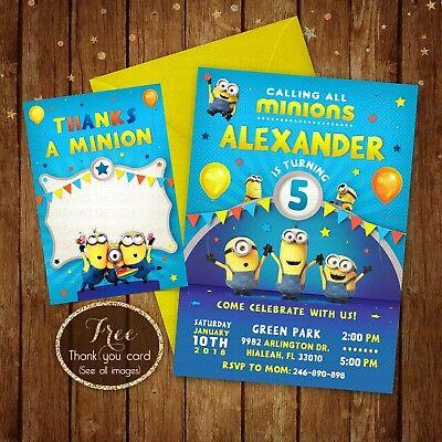 minions birthday invitation minions party card digital printable file 5x7 ebay