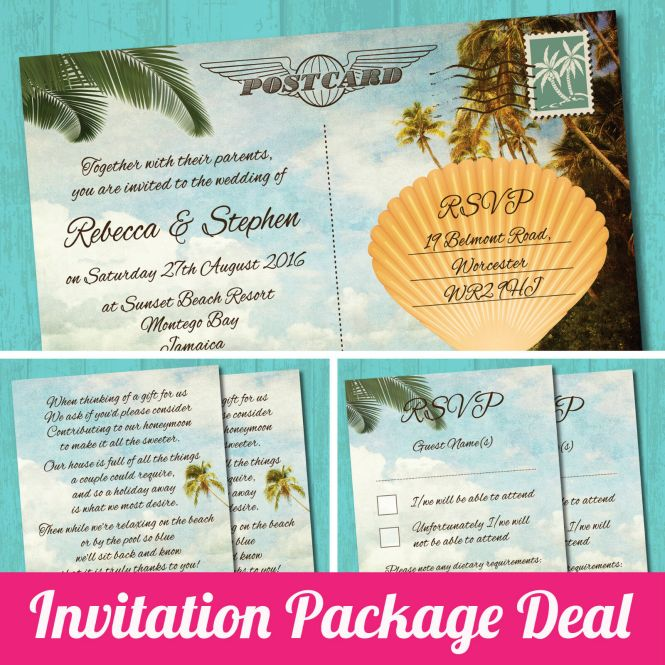 Details About Package Deal Wedding Invitation Rsvp Gift Poem Card Palm Beach Postcard