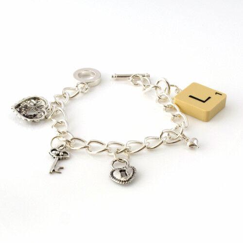 armbander scrabble tile charm bracelet choose letter emo kitsch any letter handmade retro co