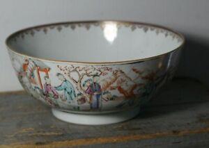 Antique 18thC Chinese Export Famille Rose Buddha Palace Scene Punch Bowl